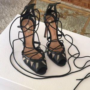 Schutz Lace Up Heeled Sandals